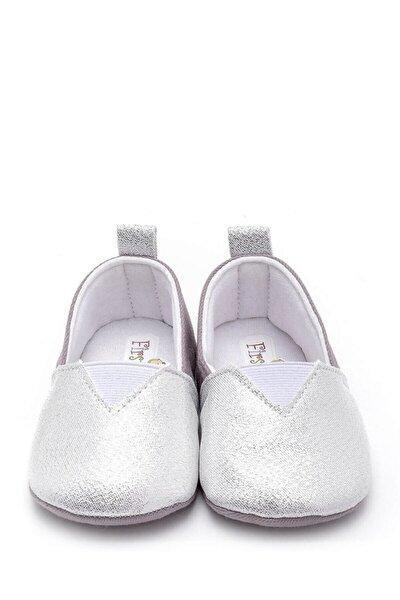 Bebek Patik Simli Kumaş Gümüş