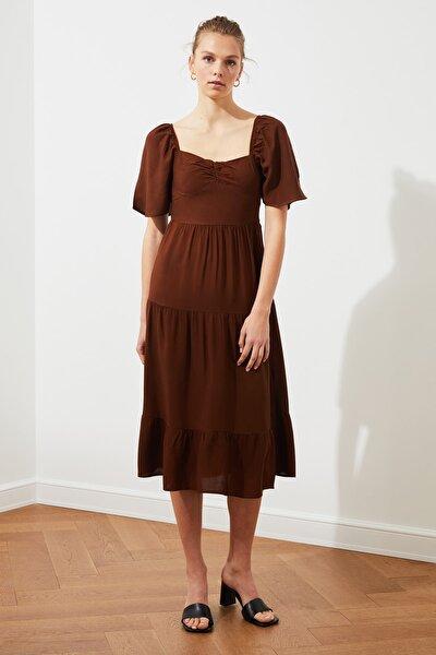 Kahverengi Balon Kollu Elbise TWOSS20EL2323