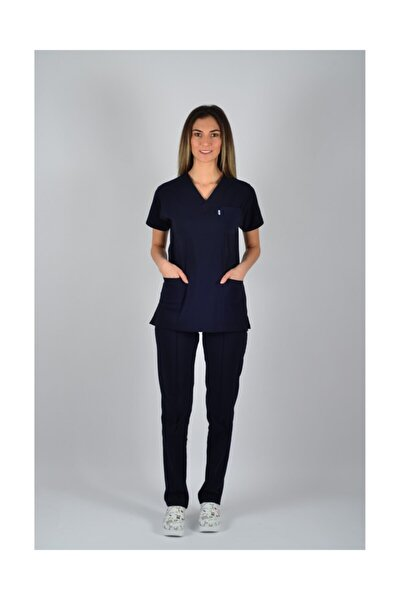 Kadın Lacivert Doktor Forması Cerrahi Nöbet Takımı