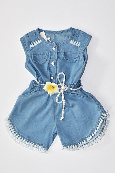 Çocuk Mavi Çiçek Detaylı Örgü Kemerli Kot Tulum