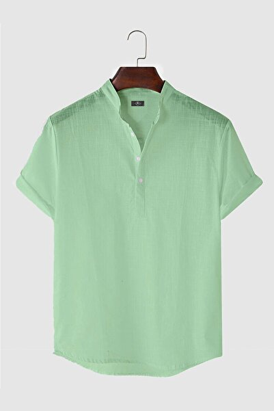 Erkek Hakim Yaka Kısa Kollu Yarım Patlı Keten Gömlek Stk301-0000002-1-6 Fıstık Yeşili