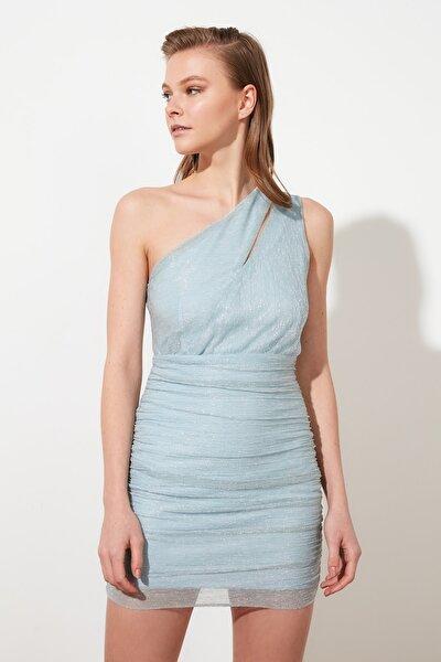 Mavi Işıltılı Damla Detaylı Elbise TPRSS21EL2596