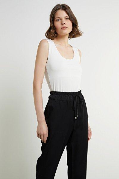 Kadın Slim Fit Beyaz U Yaka Kolsuz T-shirt 1078478