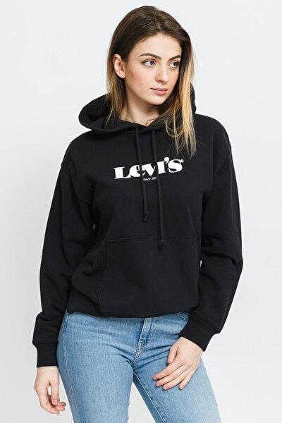 Kadın Siyah Sweatshirt Yeni Logo -18487-0004