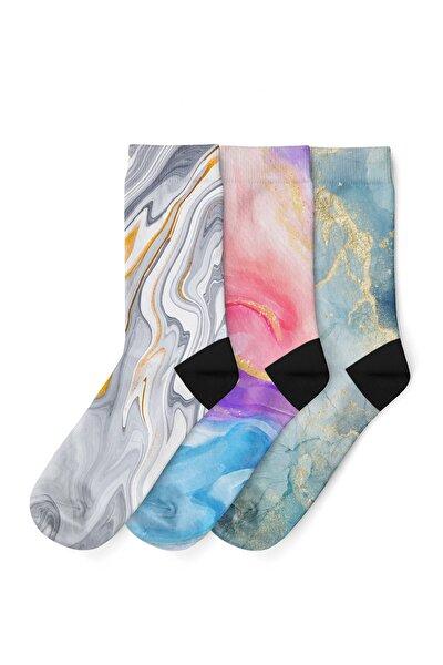 Unisex Mavi Dijital Baskılı  Soyut Desenli Soket Çorap 3 lü