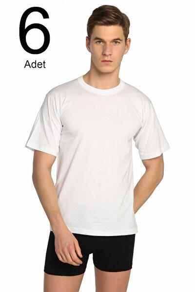 Erkek Beyaz 6'lı Paket Sıfır Yaka Fanila ELF568T0105CCM6