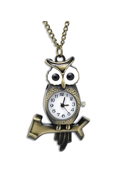 Kadın Saat Bronz Baykuş Bayan Kolye ALM003485