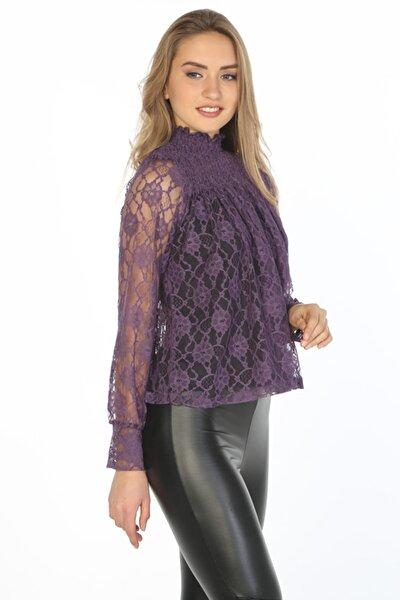 Kadın Mor Yakası Büzgü Detaylı Uzun Kollu Dantel Bluz Hn356