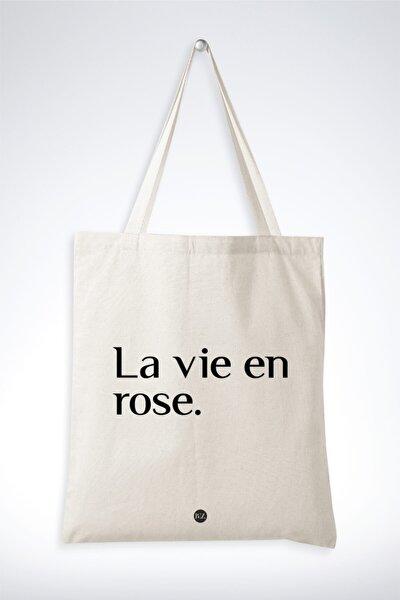 Krem/kırık Beyaz Renk Pamuklu Kumaş Ham Bez Omuz Çantası La Vie En Rose Özel Tasarım