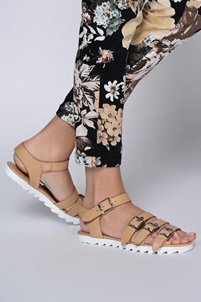 Hakiki Deri Bej Kadın Sandalet 120118664420