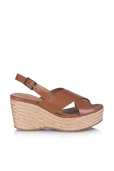 Hakiki Deri Taba Kadın Sandalet