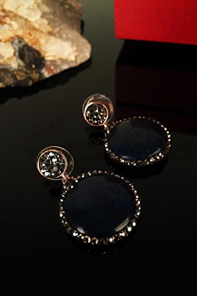 Kadın Doğaltaş Lapis Lazuli Taşı Rose Altın Kaplama Küpe Krb128