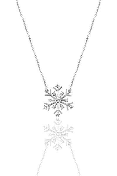 Kadın Gümüş Zirkon Taşlı Kartanesi Kolye SGTL9668