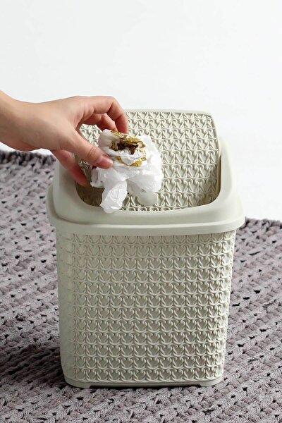Örgü Desenli Fil Dişi Rengi Plastik Klik Çöp Kovası 4,5 Lt