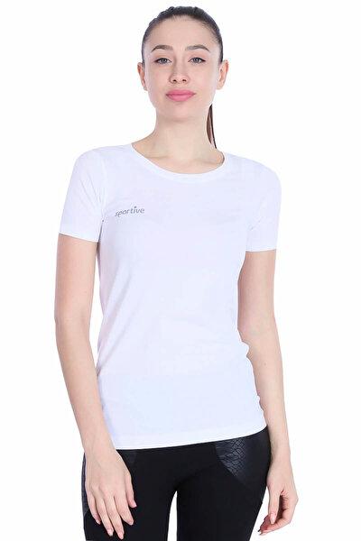 Kadın Beyaz Bisiklet Yaka Tişört - 500252-00B