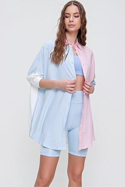 Kadın Mavi 3 Renk Bloklu Boyfriend Viscon Gömlek ALC-X5987