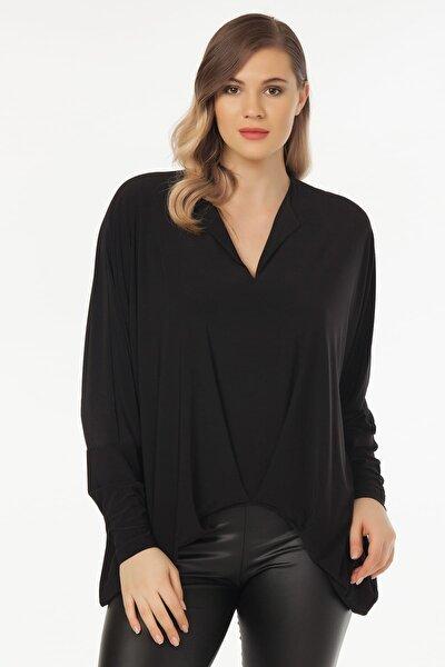 Kadın Siyah Yaka Detaylı Bluz 19LB9174