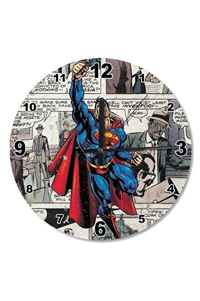 50 Cm Çap Superman Ahşap Duvar Saati