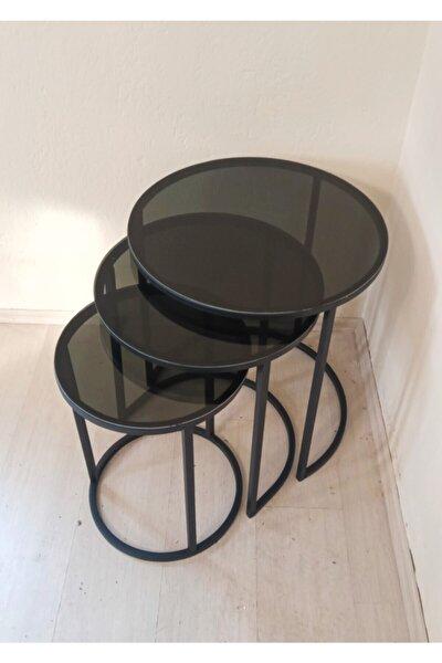 Arhome 3'lü Zigon Sehpa Takımı Siyah - Koyu Füme Cam