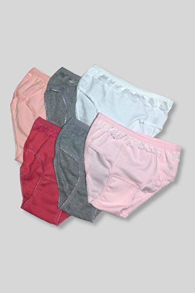 Kız Çocuk Çok Renkli 6'Lı Paket 083Ribana Pamuk Kız Külot