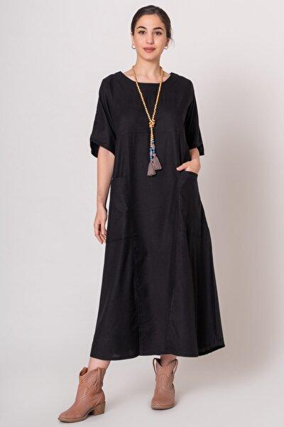 Kadın Siyah Önü Yırtmaçlı Otantik Elbise