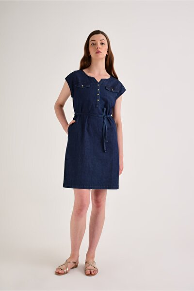 Rıva Dark Blue Denim Elbise