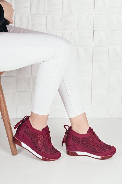 Kadın Bordo Süet Bağcıklı Yüksek Taban Gizli Topuk Spor Ayakkabı