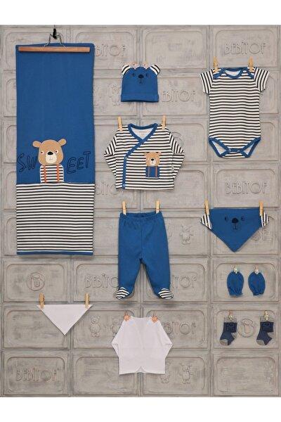 Erkek Bebek Mavi Uzun Kol Tatlı Ayıcık Baskılı 10'lu Hastane Çıkışı