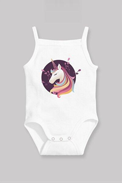 Kız Bebek Beyaz Cool Unicorn  Askılı Zıbın Atlet