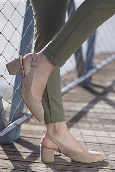 Kadın Vizon Süet Günlük Klasik Topuklu Ayakkabı