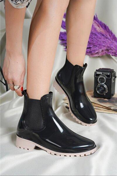 Kadın Yağmur Botu Siyah/nude