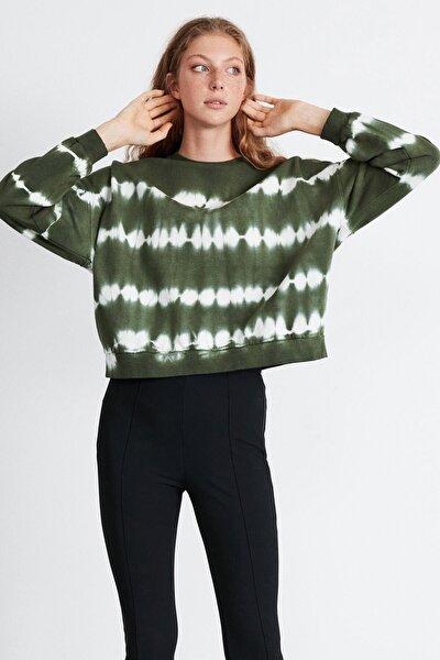 Kadın Haki Yıkamalı Sweatshirt