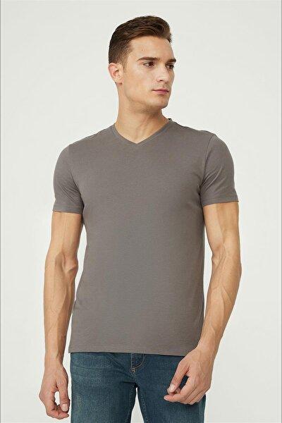 Erkek Antrasit V Yaka Düz T-shirt E001001