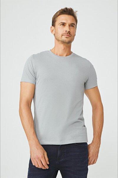 Erkek Gri Bisiklet Yaka Düz T-shirt E001000