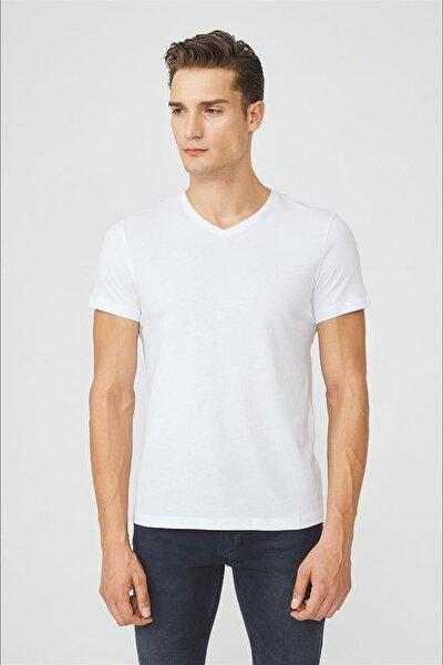 Erkek Beyaz V Yaka Düz T-shirt E001001