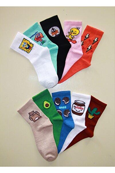 Unisex Karışık Desenli 10 Çift Renkli Kolej Çorabı