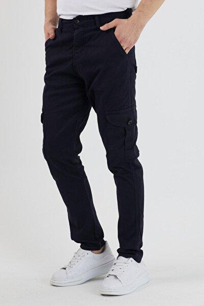 Erkek Lacivert Kargo Cep Pantolon