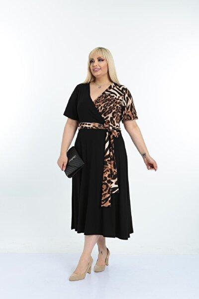 Kadın Siyah Leopar Desenli Kruvaze Yaka Büyük Beden Elbise