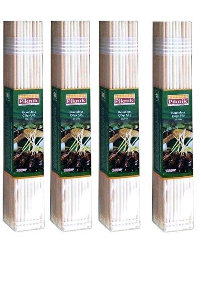 Bej Ağaç Bambu Çöp Şiş 25 cm (100'lü) X 4 Adet
