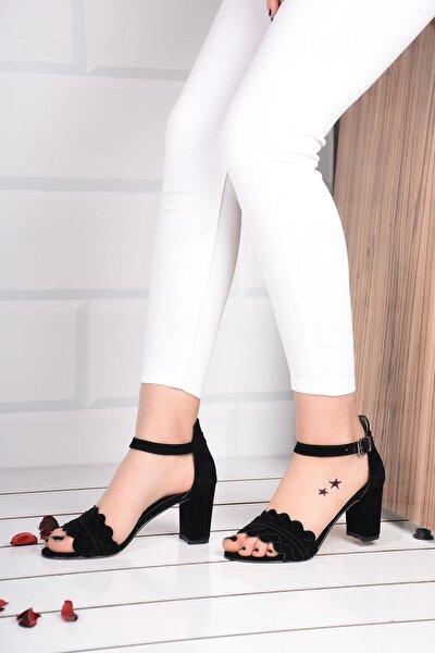 Kadın Siyah Topuklu Ayakkabı Süet Bilek Bağlamalı