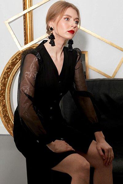 Elbise V Yaka- Ön Tüm Düğmeli, Kollar Desenli Kombinli, Uzun Kol