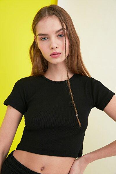 Siyah Fitilli Örme Bluz TWOSS21BZ0779