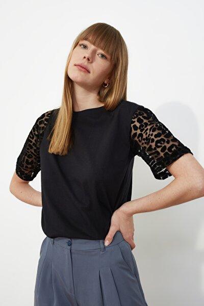 Siyah Kolları Tüllü Örme Bluz TWOSS21BZ0891