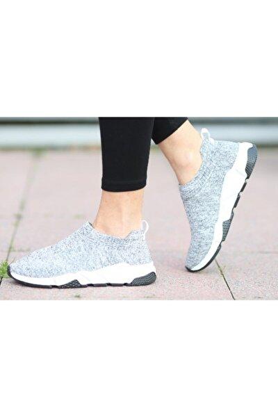 Kadın Gri Kısa Çoraplı Yüksek Taban Triko Sneakers Spor Ayakkabı
