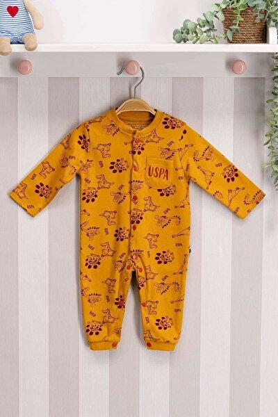 U.s. Polo Assn Lisanslı Bebek Uzun Kol Patiksiz Tulum Hardal Usb176
