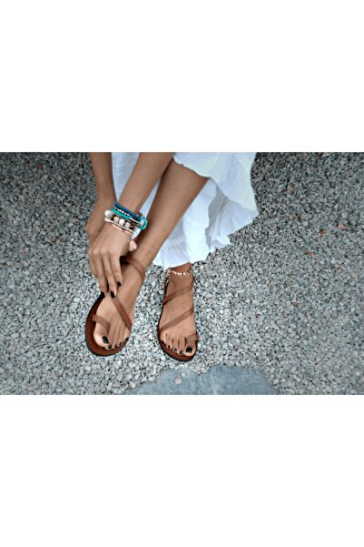 El Yapımı Hakiki Deri Taba Kadın Sandalet-bodrum Sandaleti