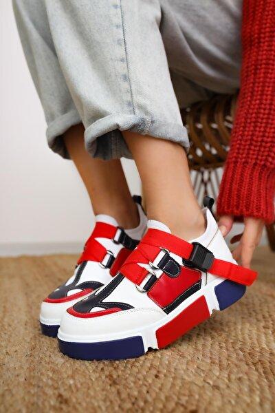 Lana Deri Kırmızı/beyaz Lastikli Spor Ayakkabı