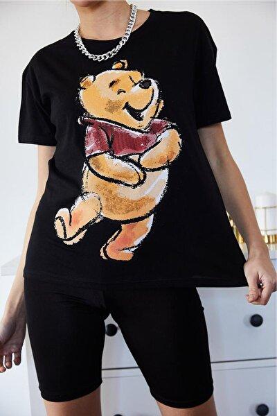 0967-7003 Ayı Pooh Baskılı Bisiklet Yaka T-shirt
