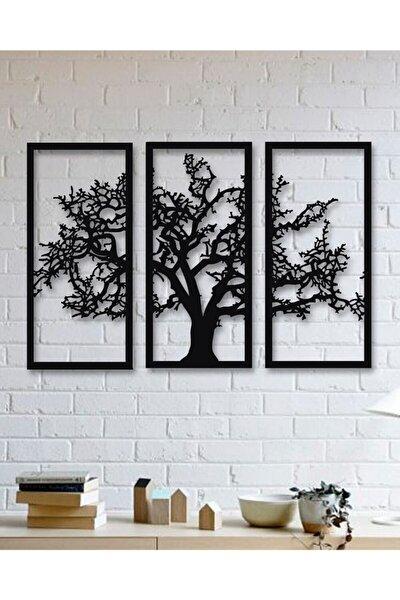 Son Bahar 3'lü Siyah Çınar Ağacı Ahşap Tablo Büyük Boy Dekorasyon Salon Ofis Tasarım