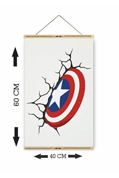 Kaptan Amerika Marvel Ahşap Askılı Kanvas Poster